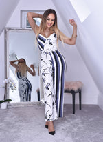 Disha Grey Contrast Stripe & Floral Wrap Strappy Jumpsuit