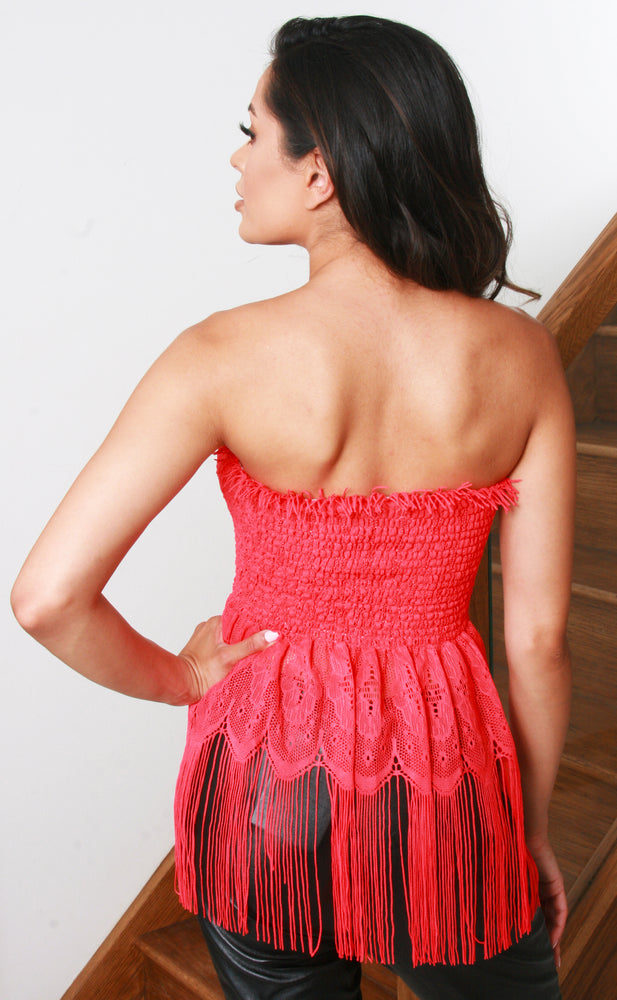 Red Tassel Bandeau Top - Missfiga.com