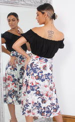 Floral Pleated Midi Skirt - Missfiga.com