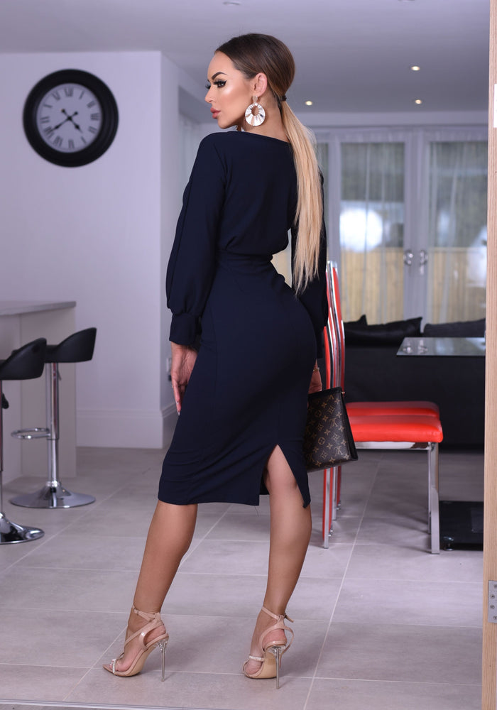 Navy Selena Long Sleeve Midi Dress