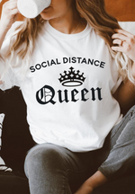 White Social Distancing Queen Slogan T Shirt