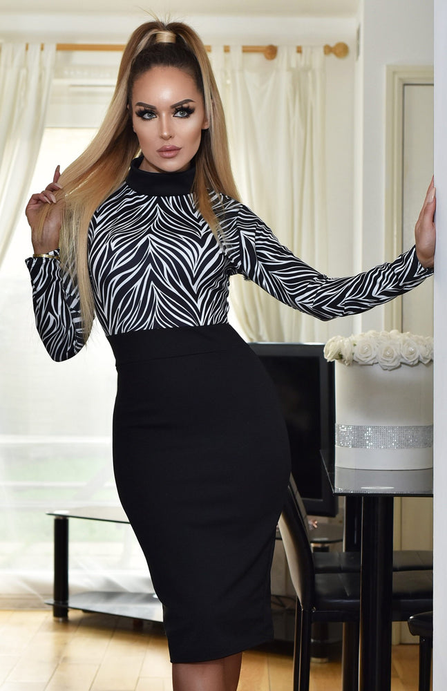 Macy Black & White Printed Turtle Neck Contrast Dress