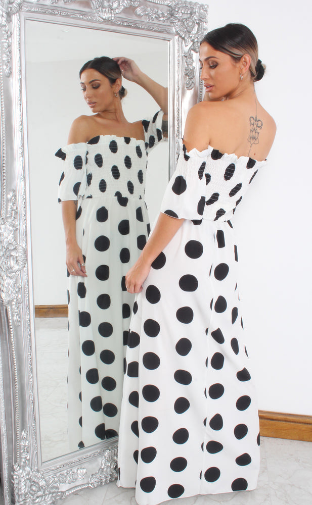 Cameron White Shirred Polka Dot Maxi Dress - Missfiga.com