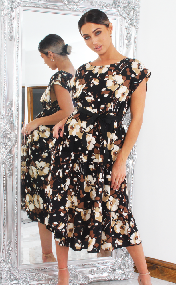 Ollie Black Floral Stone Frill Shift Dress - Missfiga.com