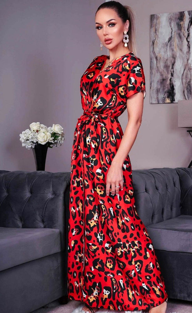 Tiana Red Animal Satin Wrap Maxi Dress - Missfiga.com