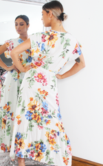 Helena Ivory Floral Wrap Short Sleeve Gypsy Maxi Dress - Missfiga.com