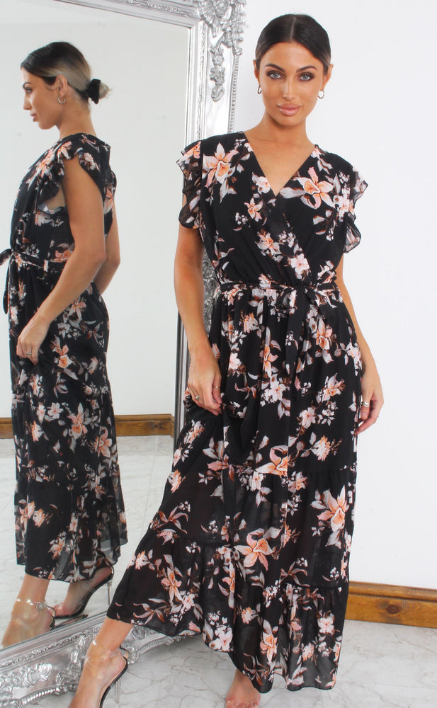 Alina Black Floral Wrap Maxi Dress - Missfiga.com