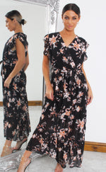 Alina Black Floral Wrap Maxi Dress