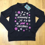 """I'm Dreaming of a Pink Christmas"" Slogan Jumper"