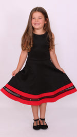 Children's Black & Red Alexis Mesh Skater Dress - Missfiga.com