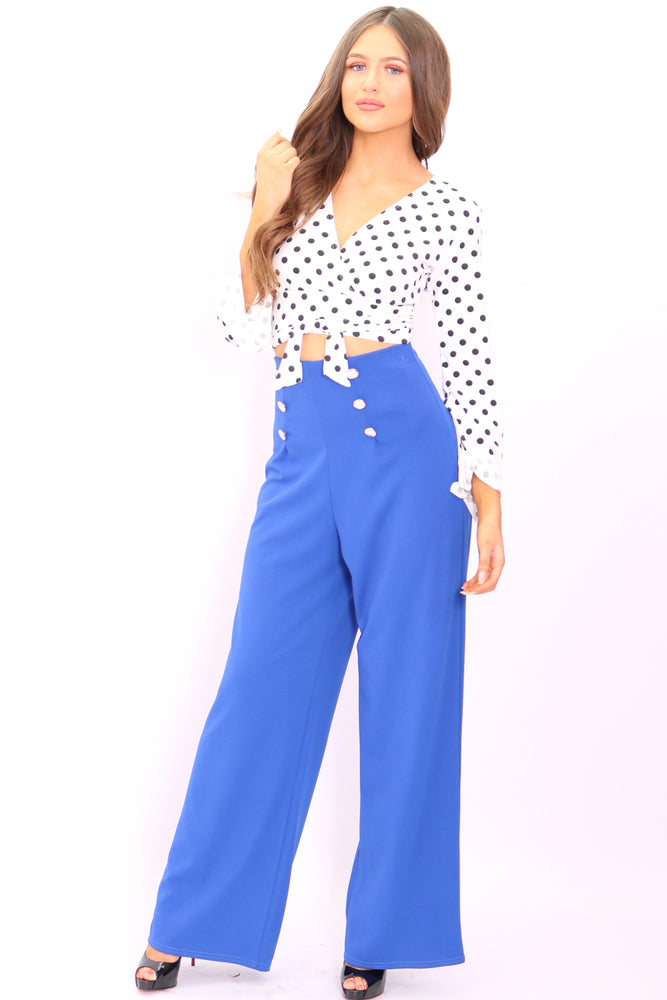 Maddie Blue Button Flared Leg Trousers