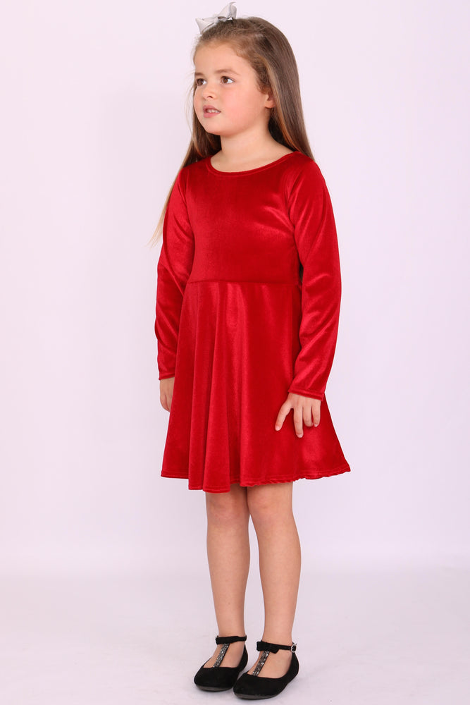 Children's Annabelle Red Velvet Skater Dress - Missfiga.com