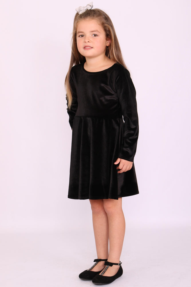 Children's Annabelle Black Velvet Skater Dress - Missfiga.com