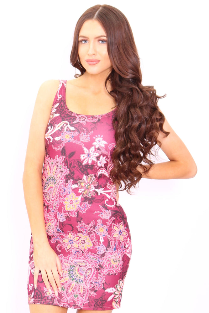 Sara Red Paisley Mini Dress