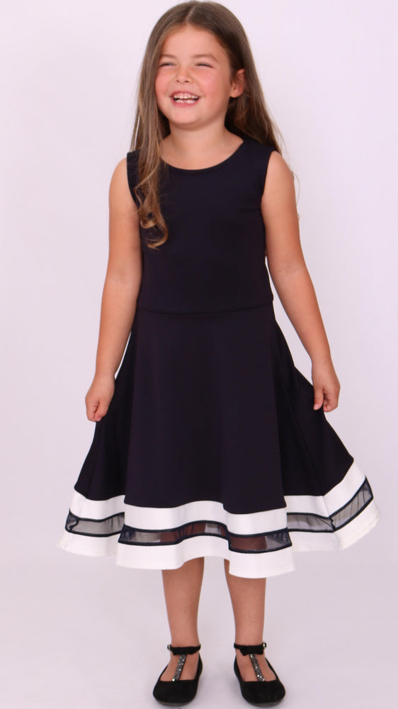 Children's Navy & White Alexis Mesh Skater Dress