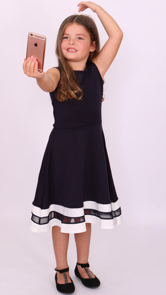 Children's Navy & White Alexis Mesh Skater Dress - Missfiga.com