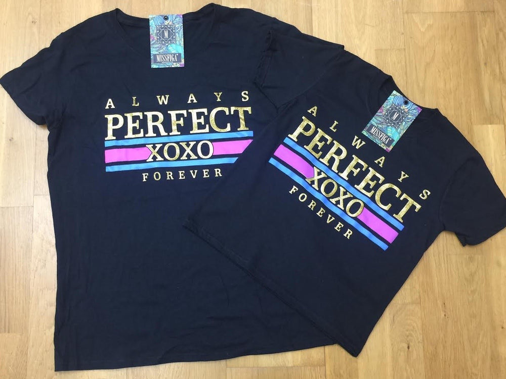 "Black ""Always Perfect""  Matching Tee's - Missfiga.com"