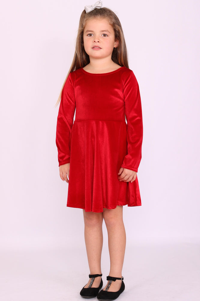 Children's Annabelle Red Velvet Skater Dress