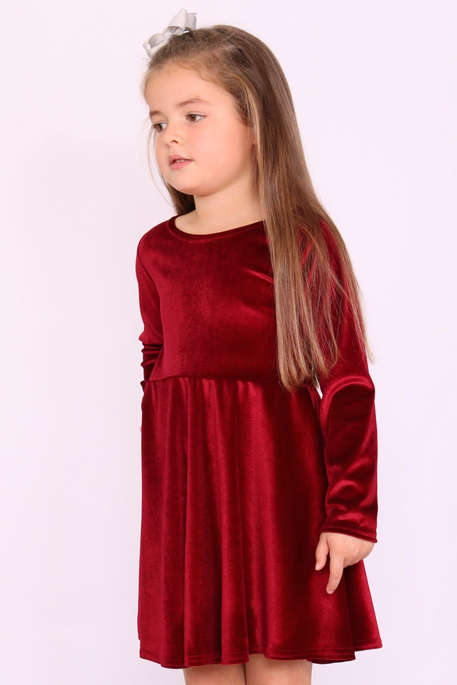 Children's Annabelle Burgundy Velvet Skater Dress - Missfiga.com