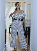 Bianca Pinstripe Off the Shoulder Frill Contrast Belt Flared Leg Jumpsuit