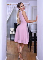 Lizzie Pink Wrap Frill Tea Dress - Missfiga.com