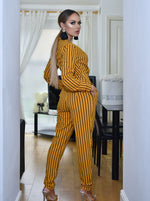 Anjela Mustard Pinstripe Tailored Wrap Jumpsuit