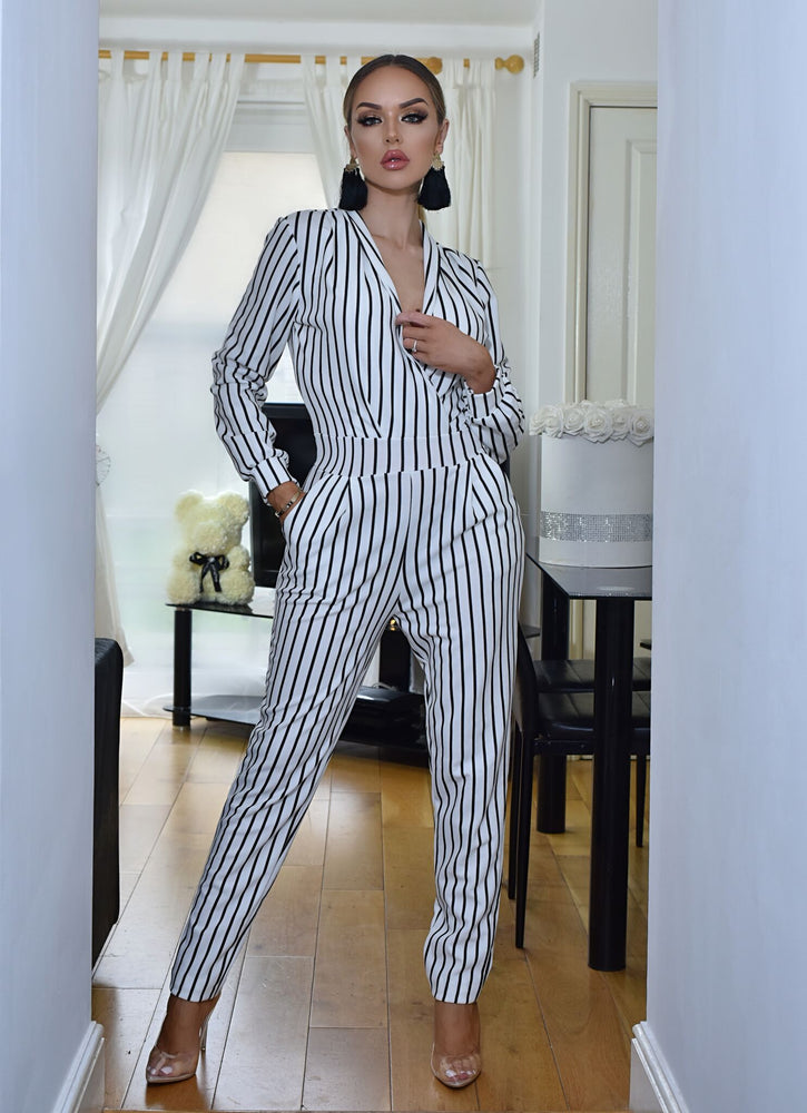 Anjela Ivory Pinstripe Tailored Wrap Jumpsuit