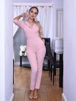 Ursula Pink Collard Military Button Wrap Jumpsuit