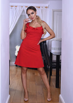 Sabrina Red Strappy Frill Mini Dress