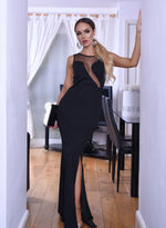 Tara Black Mesh Detail Sleeveless Slit Maxi Dress