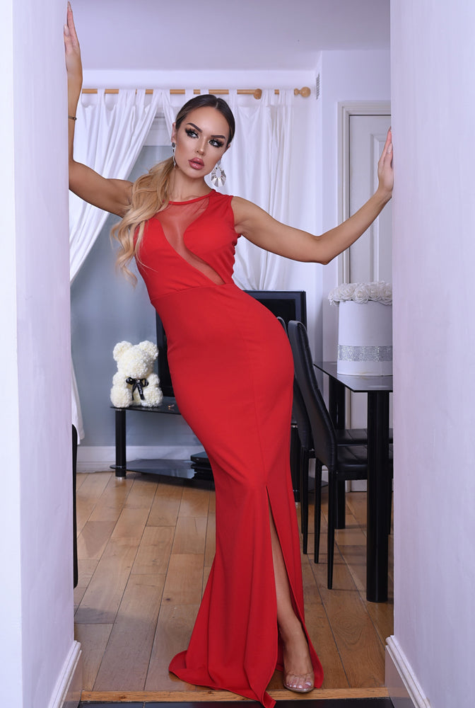 Tara Red Mesh Detail Sleeveless Slit Maxi Dress