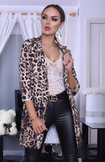 Harina Leopard Print Long Sleeve Duster Jacket
