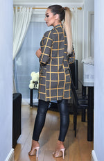 Aphrodite Grey and Mustard Check Printed Long Sleeve Duster Jacket