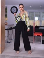 Chorley Green Chain Wrap Flared Leg Jumpsuit