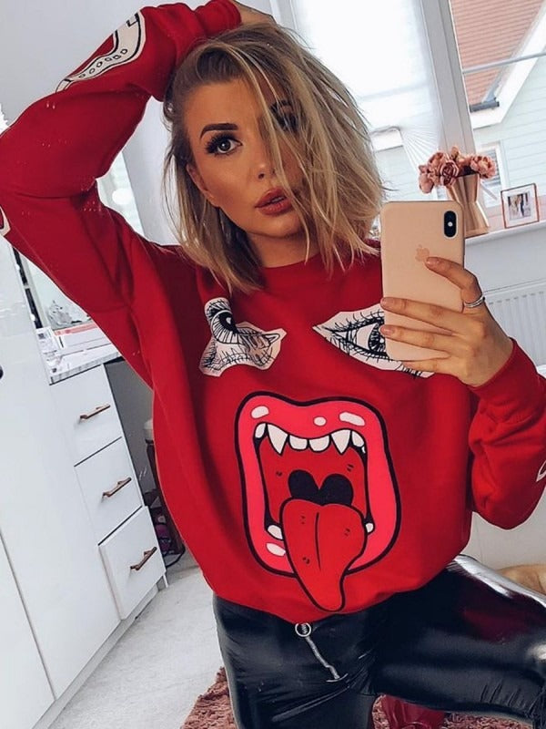 59bdf5061 Samira Monster Printed Sweatshirt Jumper in Red