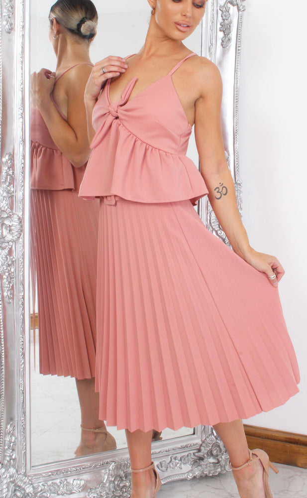 Pink Pleated Midi Skirt - Missfiga.com