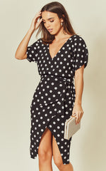 Maura Black Polka Dot V Neck Judith Batwing Wrap Dress
