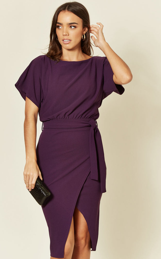 Purple Judith Wrap Front Batwing Dress - Missfiga.com