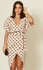 Maura Nude Polka Dot V Neck Judith  Batwing Wrap Dress - Missfiga.com