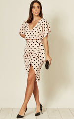 Maura Nude Polka Dot V Neck Judith  Batwing Wrap Dress