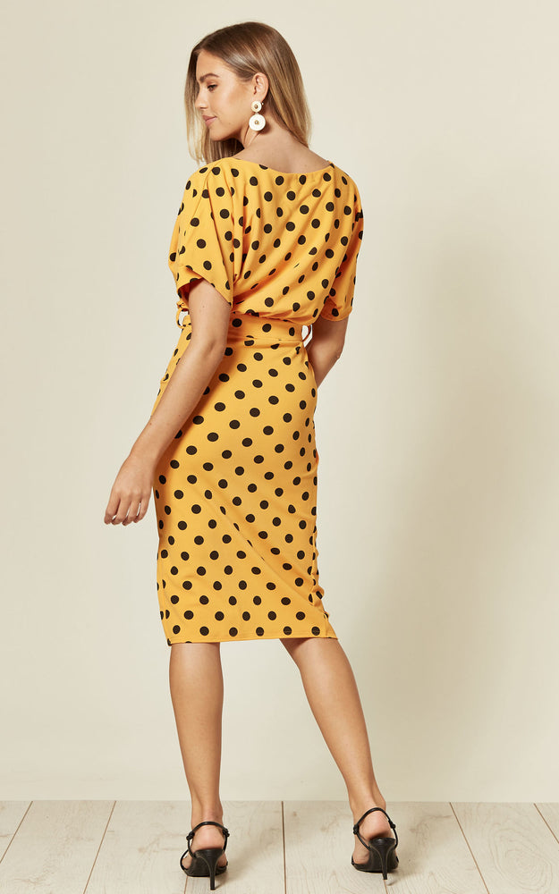 Maura Mustard Polka Dot V Neck Judith Batwing Wrap Dress
