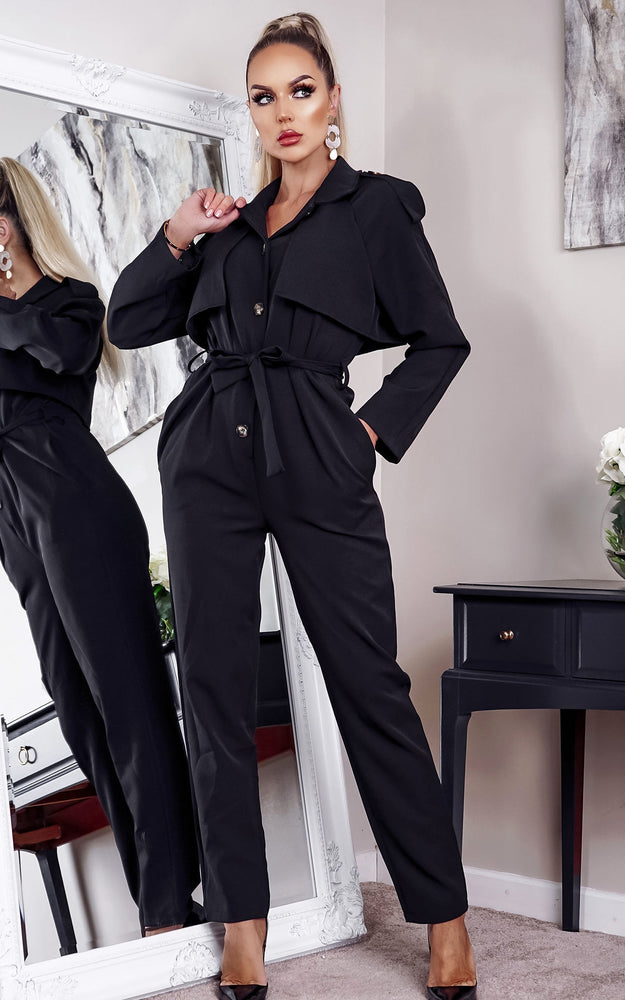 Jurne Black Long Sleeve Military Jumpsuit - Missfiga.com
