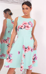 Elisha Mint Floral Sleeveless Skater Dress - Missfiga.com