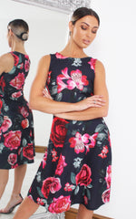 Navy Astonia Floral Sleeveless Skater Dress - Missfiga.com