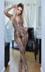 Brooklyn Wrap Jumpsuit Brown Snake Print - Missfiga.com