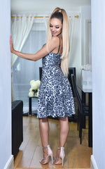 Briony Grey Animal Print V Bar Strappy Skater Dress - Missfiga.com