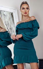 Jovi Teal Shirred Off the Shoulder Bodycon Dress