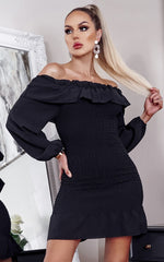 Jovi Black Shirred Off The Shoulder Bodycon Dress