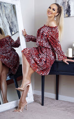 Nyla Redal Bardot Long Sleeve Shift Dress Dress - Missfiga.com