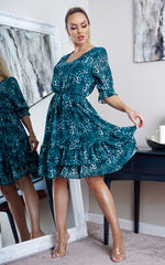 Rory Teal Animal Print Frill Hem Shift Dress